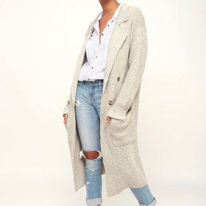LULUS L/S Trench Style Knit Long Sweater Coat